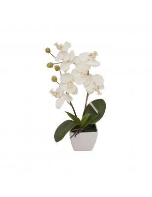 Floare artificială Orhidee albă în ghiveci