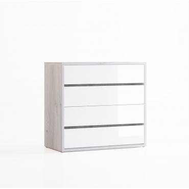 Comoda dormitor, 1000mm, alb lucios - Berna