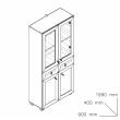 Sistem Atena - dulap vitrină și sertare stejar magia