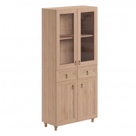 Sistem Atena - dulap vitrină și sertare stejar bardolino